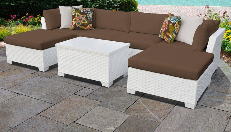 TK CLASSICS Monaco 7 Piece Outdoor Wicker Patio Furniture Set 07b - Cocoa | Kipe it
