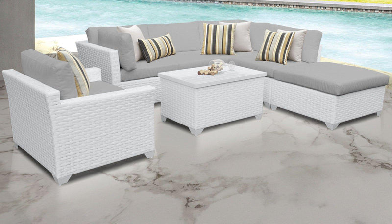 TK CLASSICS Monaco 7 Piece Outdoor Wicker Patio Furniture Set 07d - Grey | Kipe it