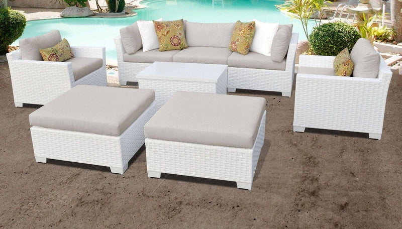 TK CLASSICS Monaco 8 Piece Outdoor Wicker Patio Furniture Set 08a - Beige | Kipe it
