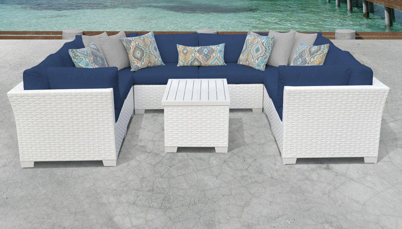 TK CLASSICS Monaco 9 Piece Outdoor Wicker Patio Furniture Set 09a - Navy | Kipe it