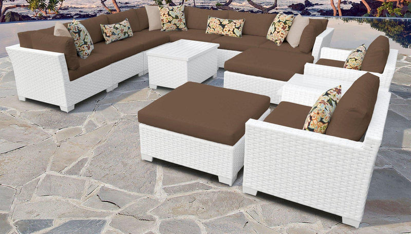 TK CLASSICS Monaco 13 Piece Outdoor Wicker Patio Furniture Set 13a - Cocoa | Kipe it