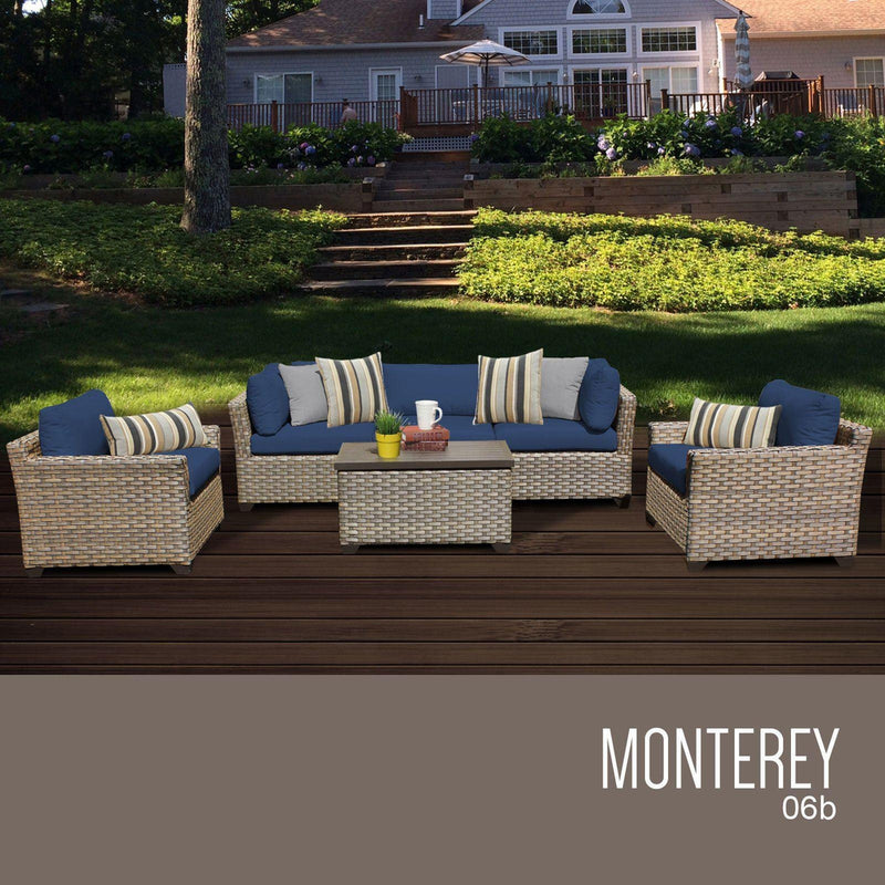 TK CLASSICS Monterey 6 Piece Outdoor Wicker Patio Furniture Set 06b - Navy | Kipe it