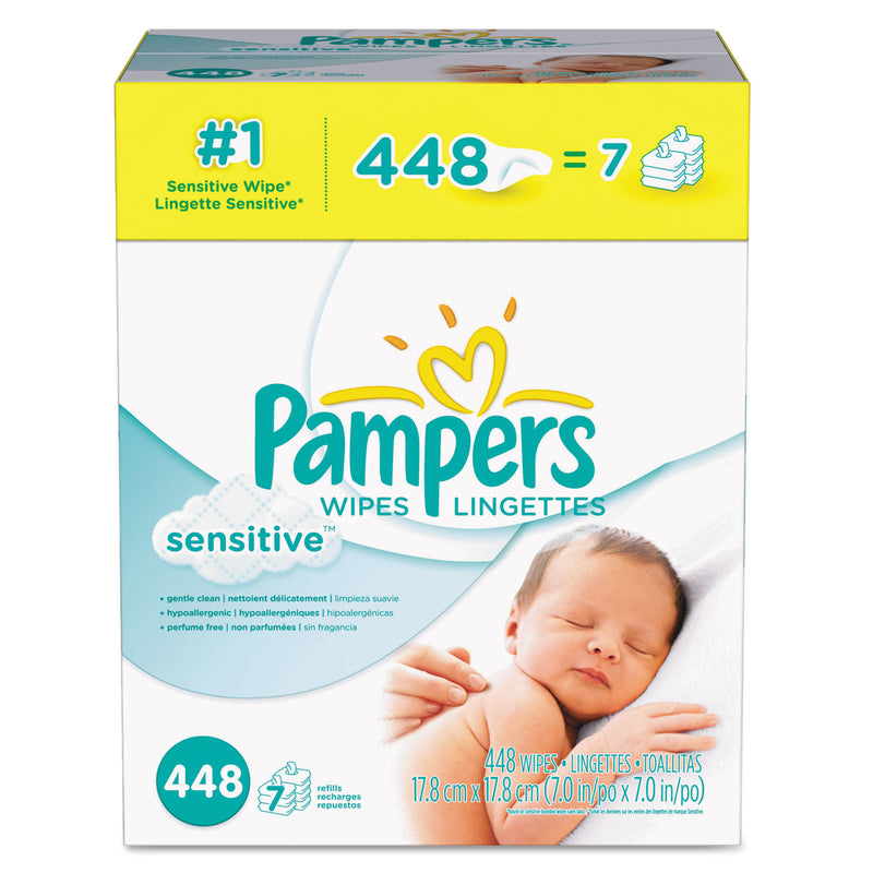 PAMPERS Sensitive Baby Wipes, White, Cotton, Unscented, 448/carton