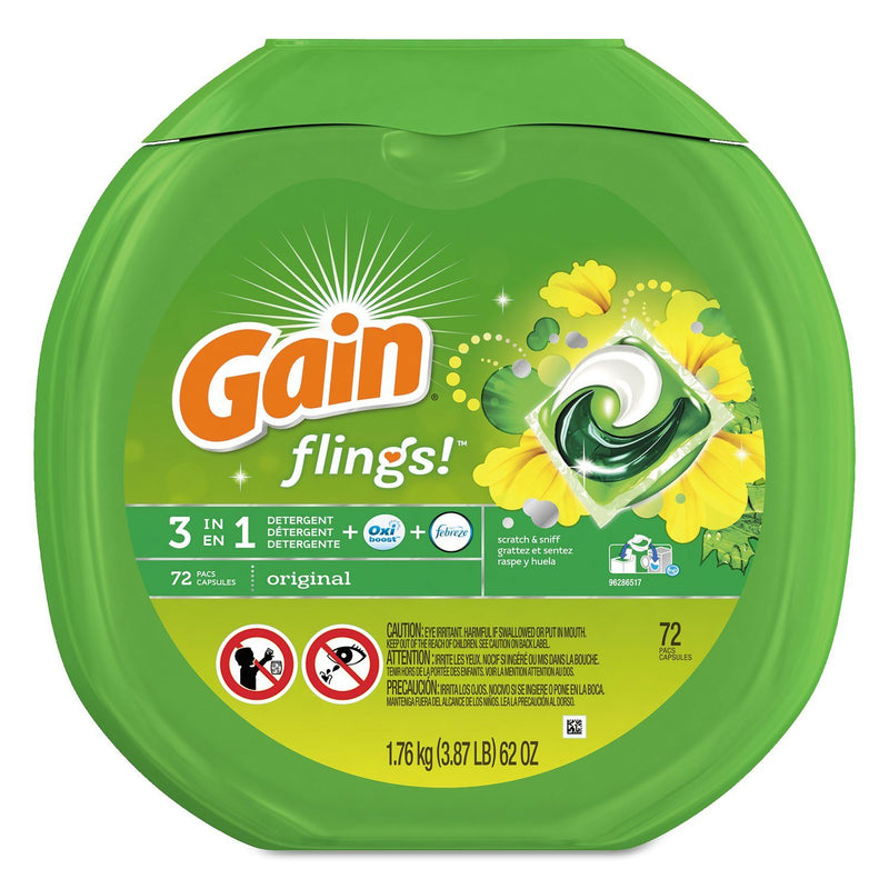 GAIN Flings Laundry Detergent Pods, Original Scent, 0.06 Pac, 72/container | Kipe it