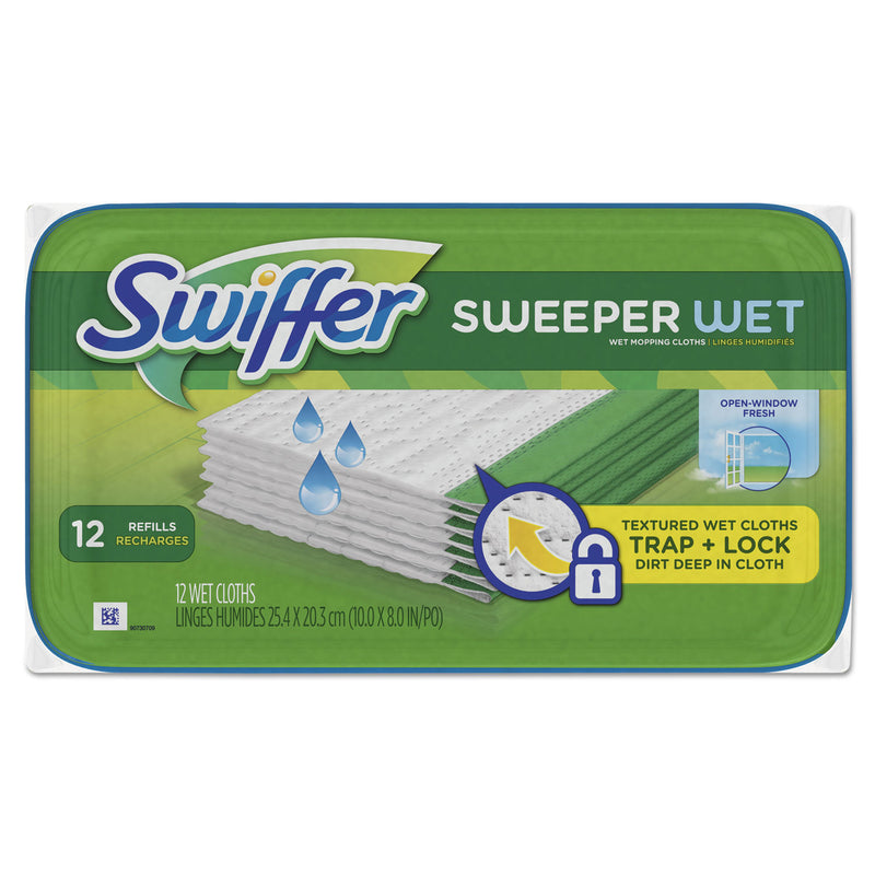 SWIFFER Wet Refill Cloths, Open Window Fresh, Cloth, White, 8 X 10, 12/tub | Kipe it
