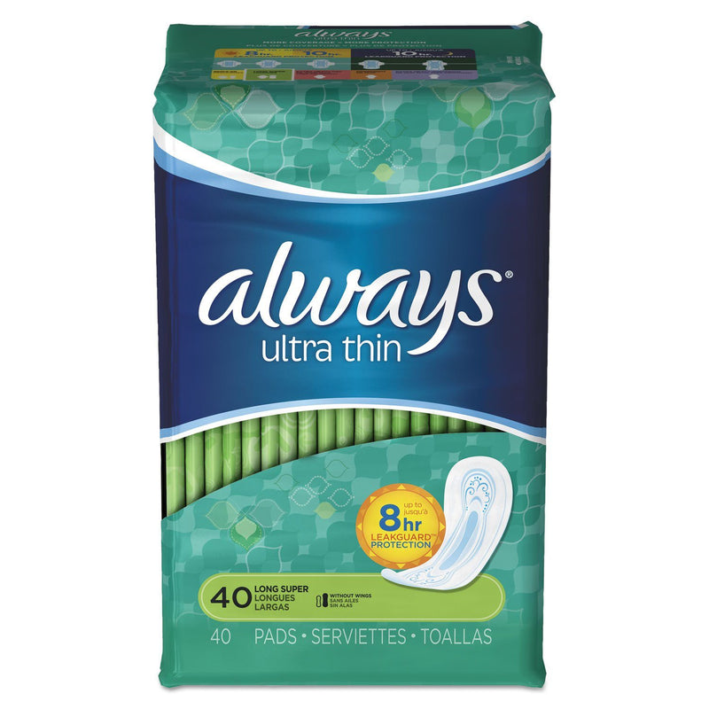 ALWAYS Ultra Thin Pads, Super Long, 40/pack, 6 Pack/carton | Kipe it