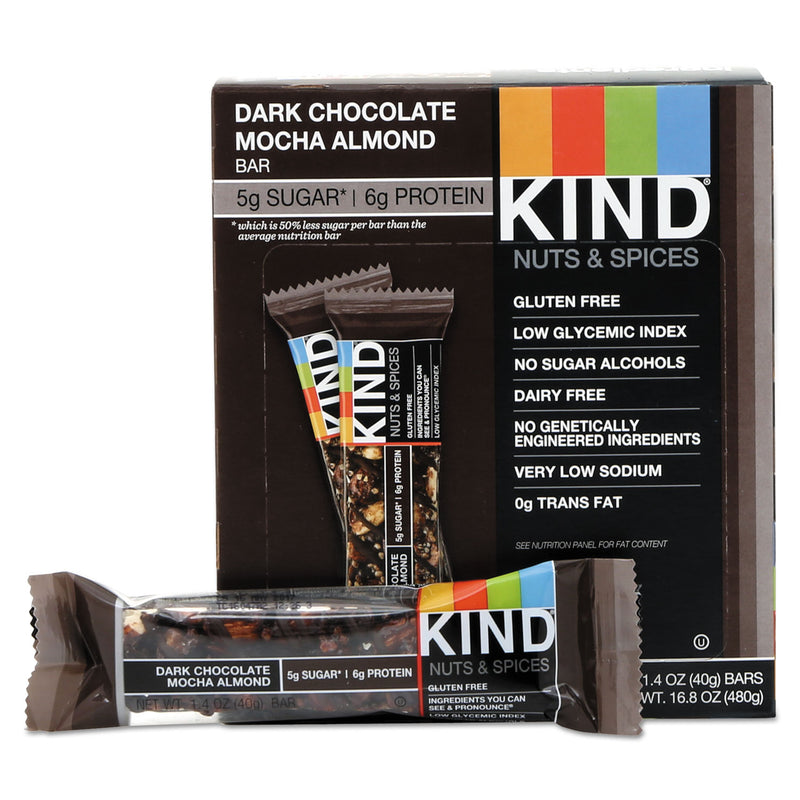 Nuts And Spices Bar, Dark Chocolate Mocha Almond, 1.4 Oz Bar, 12/box | Kipe it