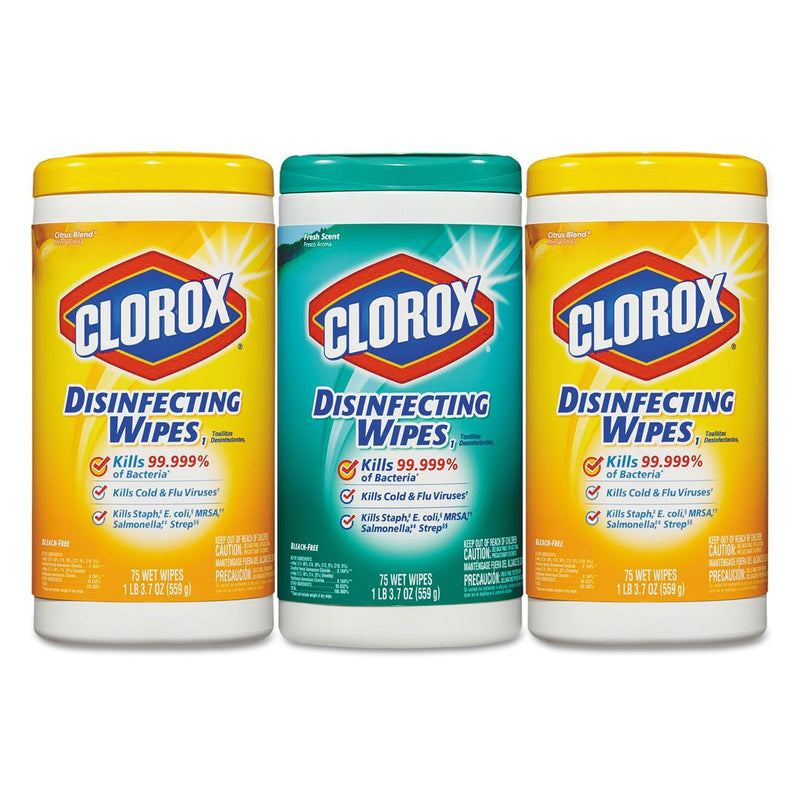 CLOROX Disinfecting Wipes, 7x8, Fresh Scent/citrus Blend, 75/canister, 3/pk, 4 Packs/ct
