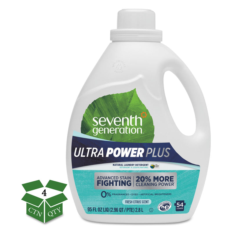 Natural Liquid Laundry Detergent, Ultra Power Plus, Fresh, 54 Loads, 95oz, 4/ct | Kipe it