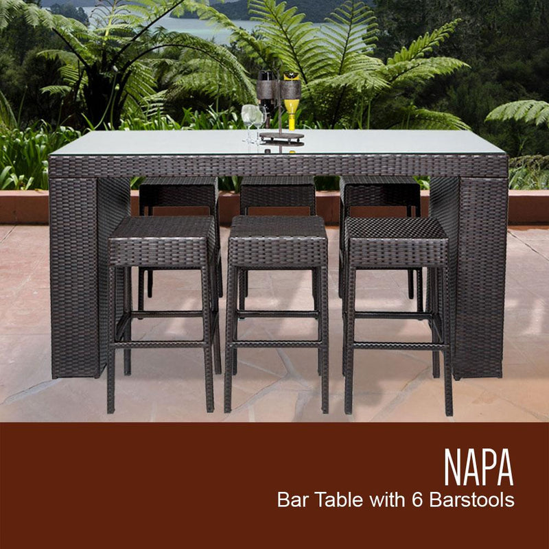 TK CLASSICS Napa Bar Table Set With Backless Barstools 7 Piece Outdoor Wicker Patio Furniture (No Cushions)