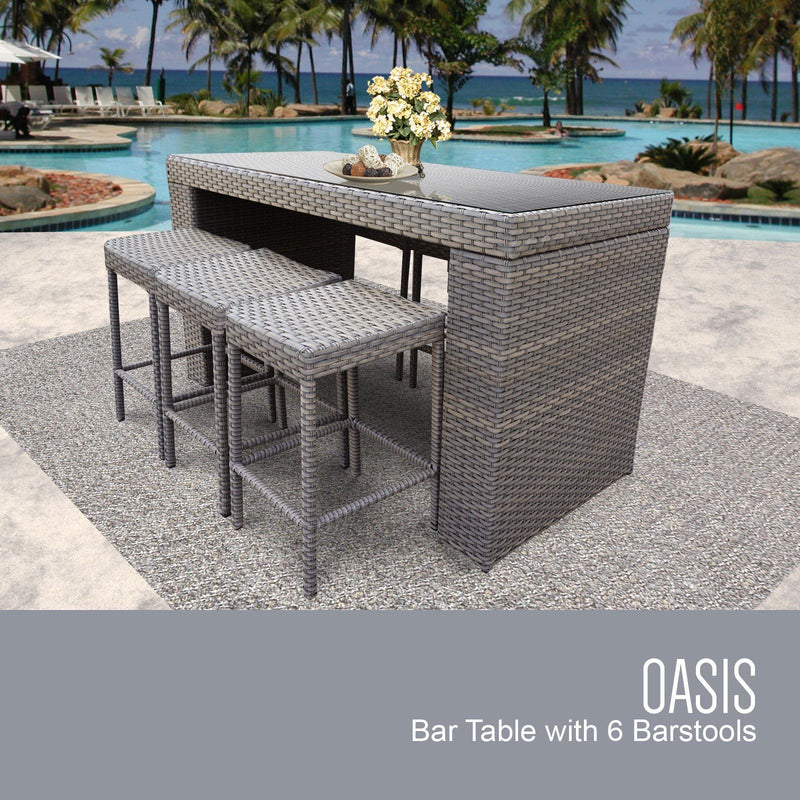 TK CLASSICS Oasis Bar Table Set With Backless Barstools 7 Piece Outdoor Wicker Patio Furniture (No Cushions) | Kipe it