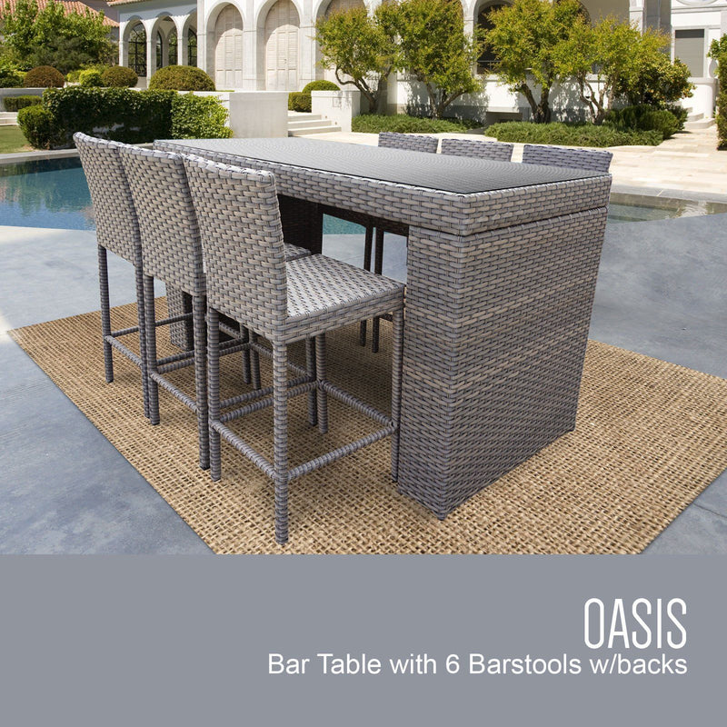 TK CLASSICS Oasis Bar Table Set With Barstools 7 Piece Outdoor Wicker Patio Furniture (No Cushions) | Kipe it