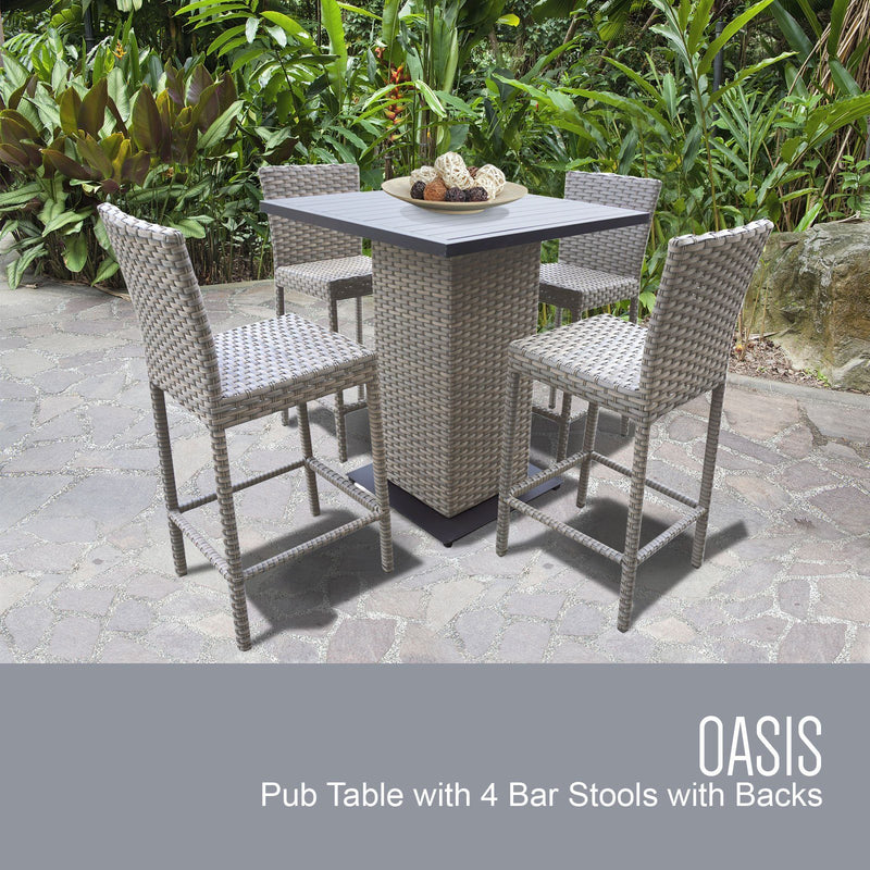 TK CLASSICS Oasis Pub Table Set With Barstools 5 Piece Outdoor Wicker Patio Furniture (No Cushions)