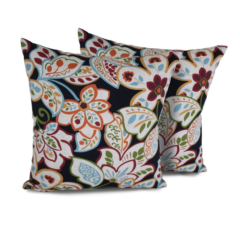 TK Classics Villa Floral Outdoor Throw Pillows Square Set of 2