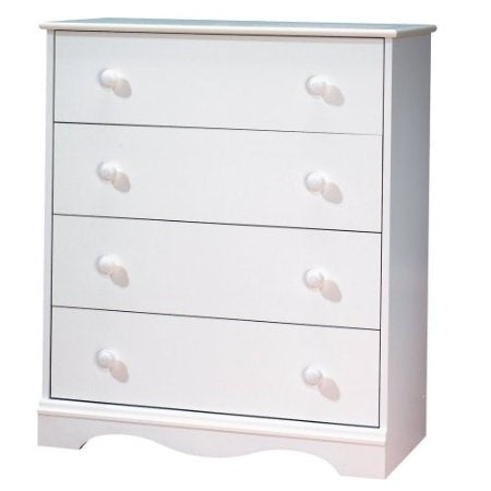 White 4 Drawer Bedroom Chest with Wooden Knobs | Kipe it