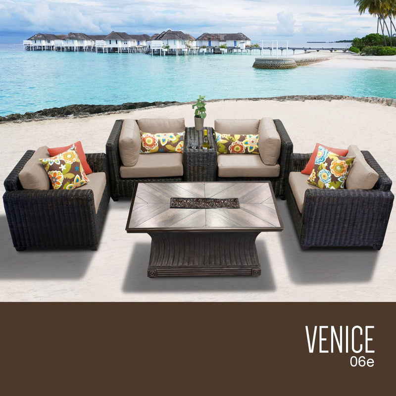TK CLASSICS Venice 6 Piece Outdoor Wicker Patio Furniture Set 06e - Beige | Kipe it