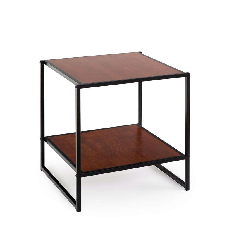 Modern Steel Frame End Table Nightstand in Brown | Kipe it