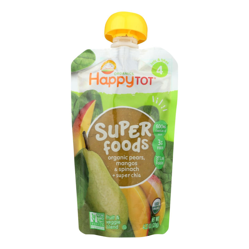 Happy Baby HappyTot Organic Superfoods Spinach Mango and Pear - 4.22 oz - Case of 16 | Kipe it