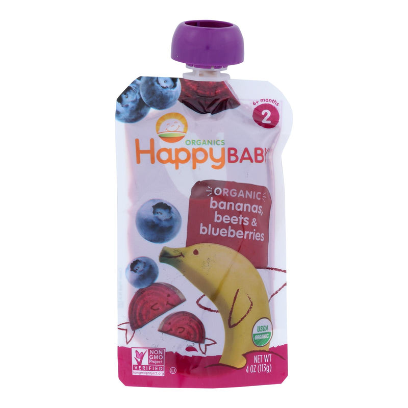 Happy Baby Organic Baby Food - Stage 2 - Banana Beets and Blueberry - Case of 16 - 3.5 oz | Kipe it