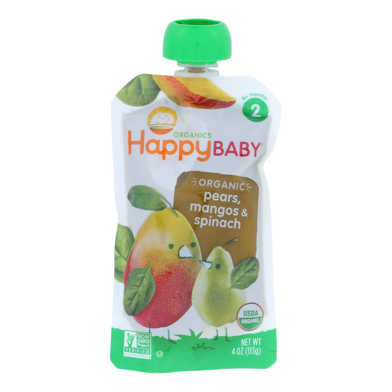 Happy Baby Organic Baby Food Stage 2 Spinach Mango and Pear - 3.5 oz - Case of 16 | Kipe it