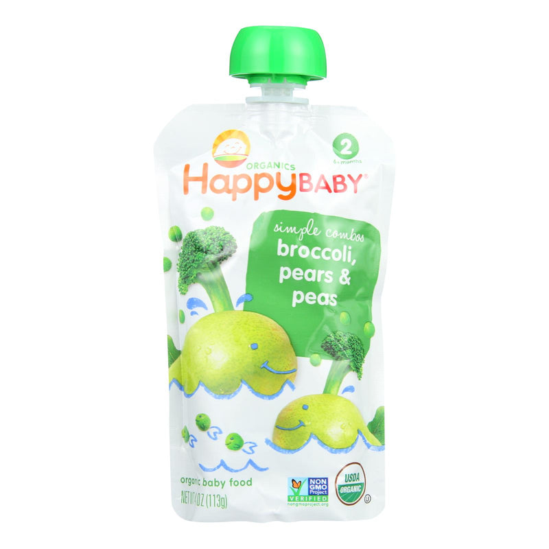 Happy Baby Organic Baby Food - Stage 2 - Broccoli Peas and Pears - Case of 16 - 3.5 oz | Kipe it