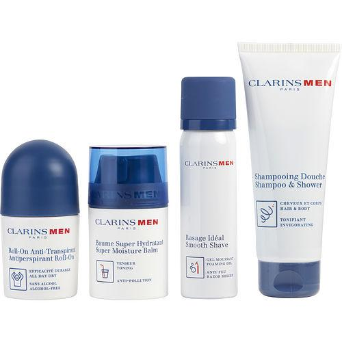 CLARINS Men Grooming Essentials Set: Shampoo & Shower Gel 3.6oz+ Smooth Shave Foaming Gel 1.7oz+ Antiperspirant Roll-on 1.7oz + Super Moisture Balm 1.7oz --4pcs