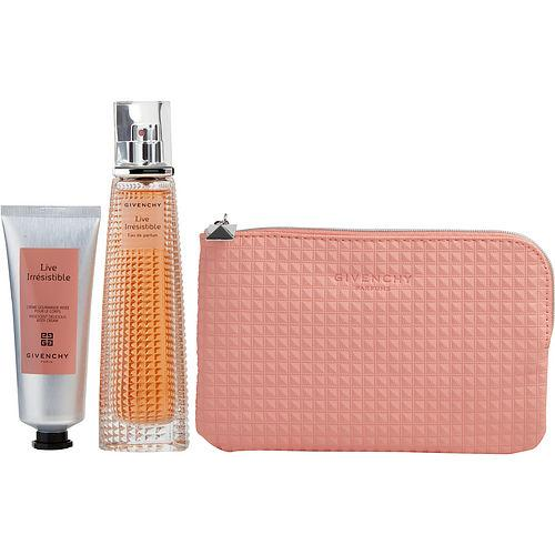 GIVENCHY Live Irresistable Eau De Parfum Spray 2.5 oz (LIMITED EDITION) & FREE BODY CREAM 2.6 OZ & POUCH (TRAVEL OFFER)