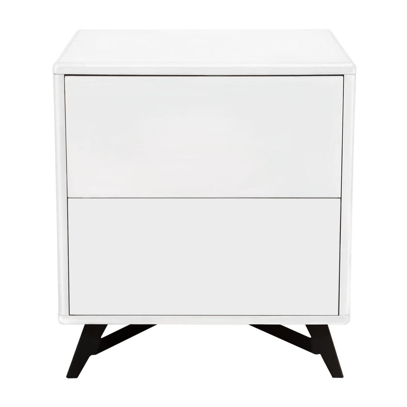 Diamond Sofa Drawer Storage White Lacquer Finish Tempo End Table | Kipe it