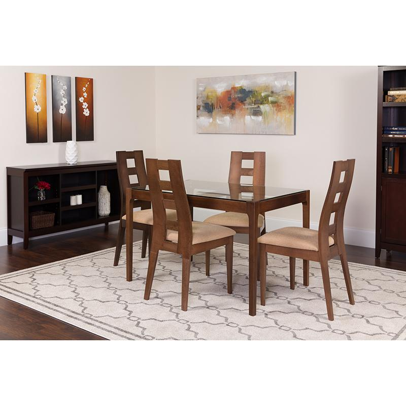 Hollister 5 Piece Walnut Wood Dining Table Set with Glass Top and Window Pane Back Wood Dining Chairs - Padded Seats