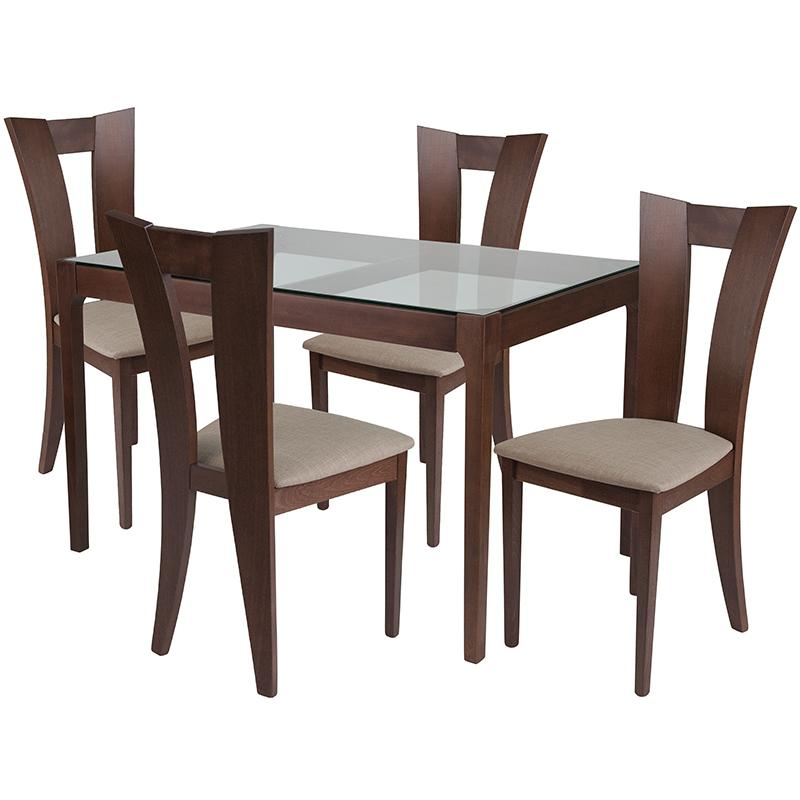 Livingston 5 Piece Walnut Wood Dining Table Set with Glass Top and Slotted Back Wood Dining Chairs - Padded Seats