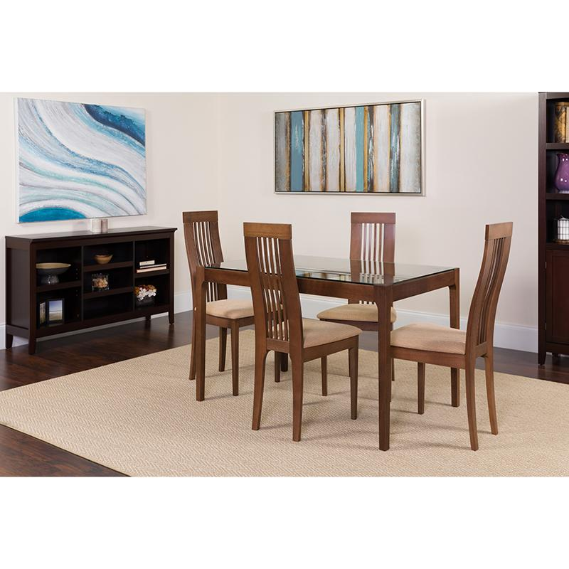 Imperial 5 Piece Walnut Wood Dining Table Set with Glass Top and Framed Rail Back Design Wood Dining Chairs - Padded Seats