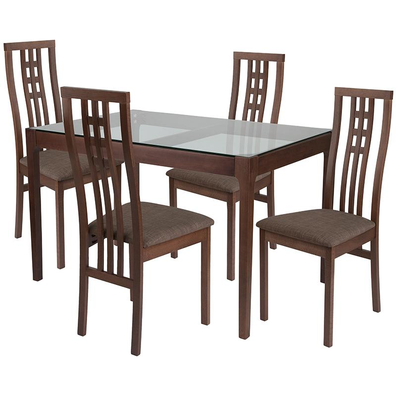 Highland 5 Piece Walnut Wood Dining Table Set with Glass Top and High Triple Window Pane Back Wood Dining Chairs - Padded Seats