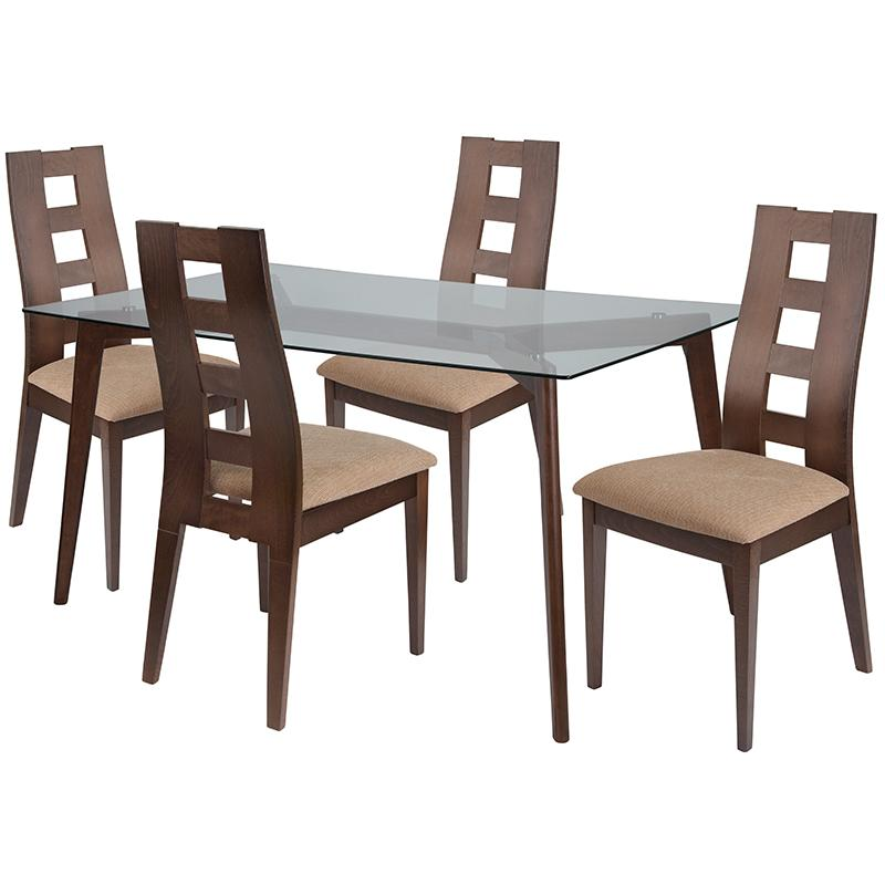 Ross 5 Piece Walnut Wood Dining Table Set with Glass Top and Window Pane Back Wood Dining Chairs - Padded Seats