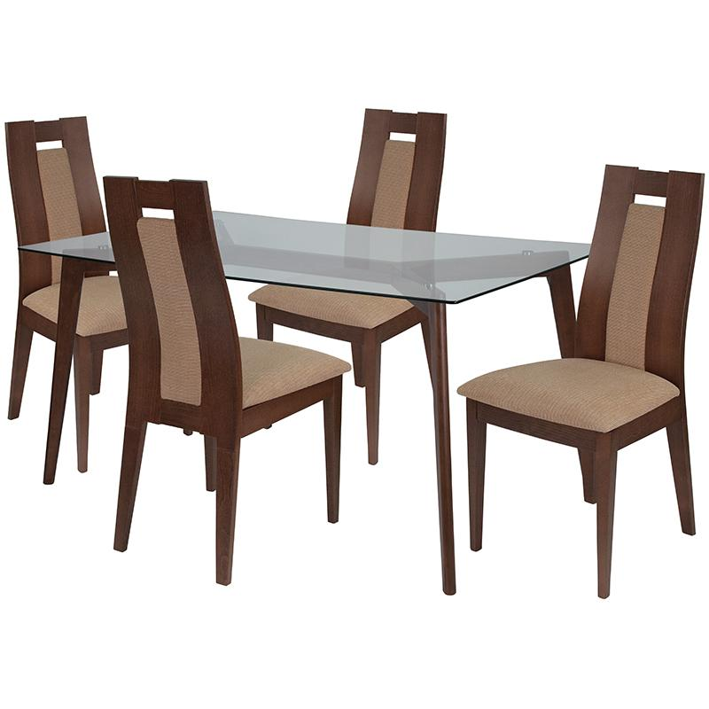 Lincoln 5 Piece Walnut Wood Dining Table Set with Glass Top and Curved Slat Wood Dining Chairs - Padded Seats