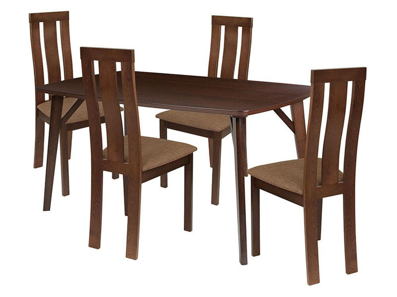 Pullman 5 Piece Espresso Wood Dining Table Set with Vertical Wide Slat Back Wood Dining Chairs - Padded Seats