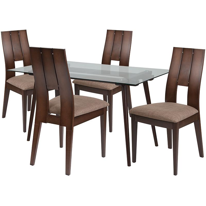 Carson 5 Piece Espresso Wood Dining Table Set with Glass Top and Curved Slat Keyhole Back Wood Dining Chairs - Padded Seats | Kipe it