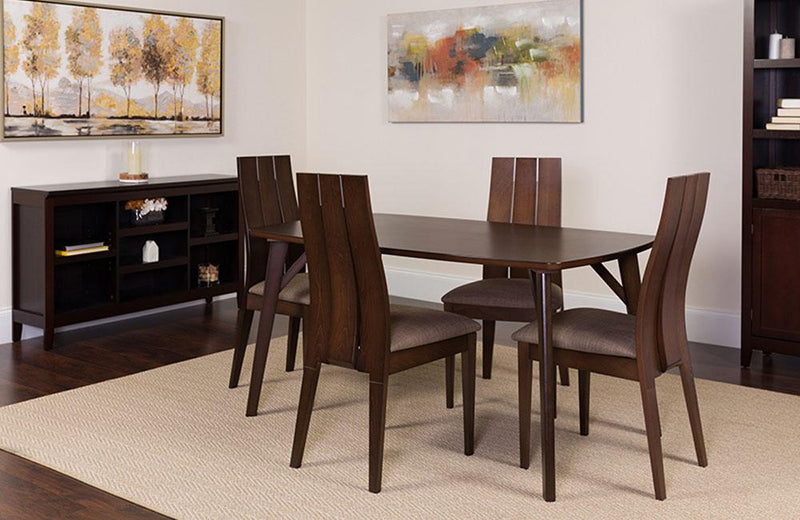 Dearborn 5 Piece Espresso Wood Dining Table Set with Wide Slat Back Wood Dining Chairs - Padded Seats