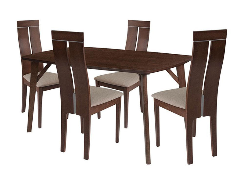 Graham 5 Piece Walnut Wood Dining Table Set with Clean Line Wood Dining Chairs - Padded Seats