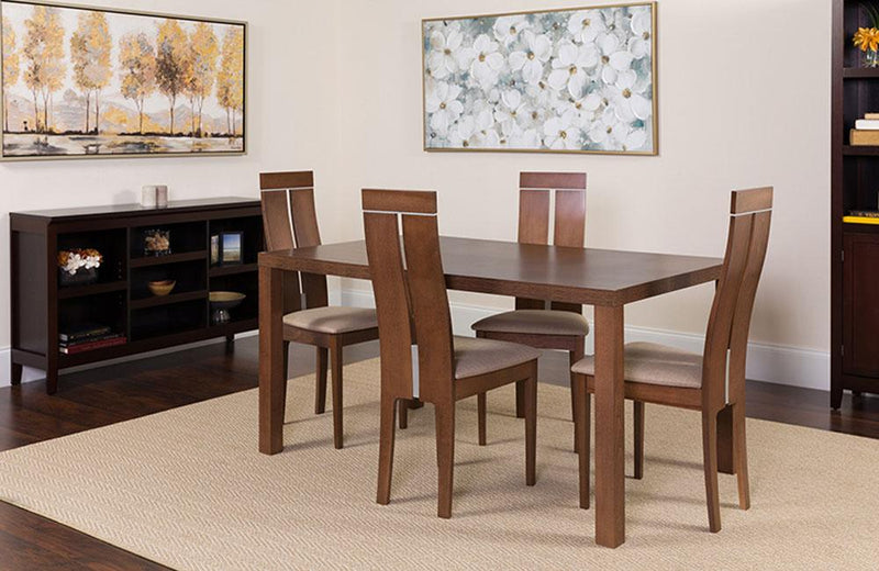 Clarke 5 Piece Walnut Wood Dining Table Set with Clean Line Wood Dining Chairs - Padded Seats