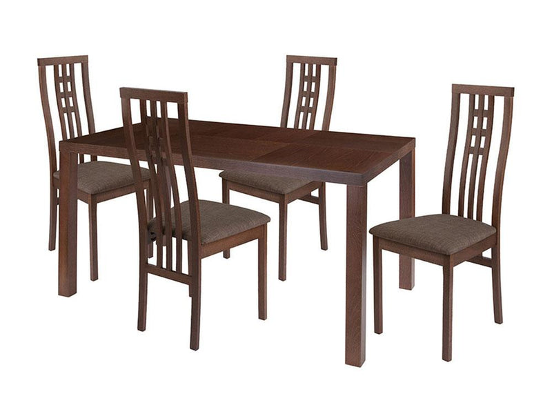 Chatham 5 Piece Walnut Wood Dining Table Set with High Triple Window Pane Back Wood Dining Chairs - Padded Seats
