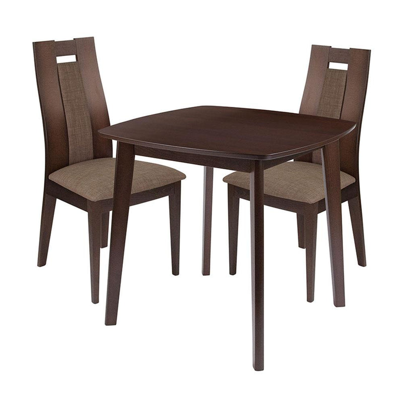 Coventry 3 Piece Espresso Wood Dining Table Set with Curved Slat Wood Dining Chairs - Padded Seats