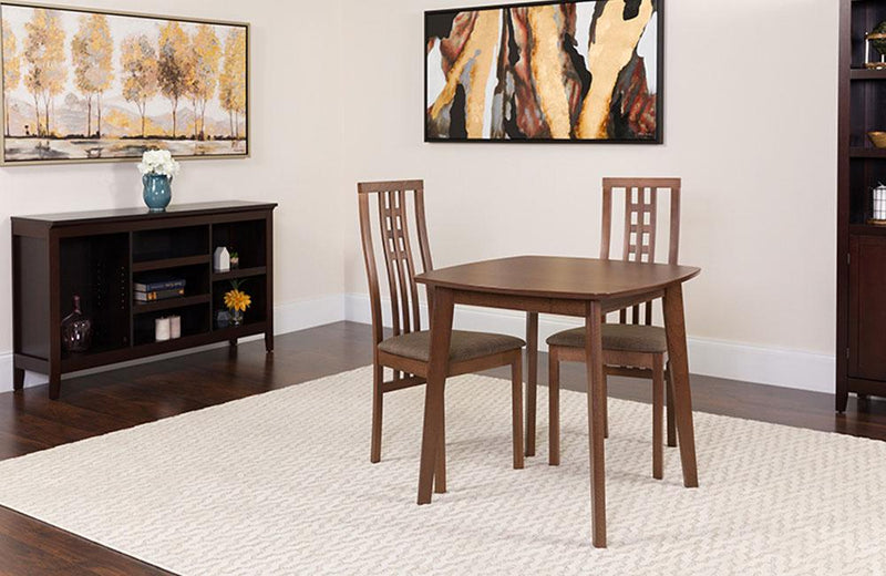 Weston 3 Piece Walnut Wood Dining Table Set with High Triple Window Pane Back Wood Dining Chairs - Padded Seats