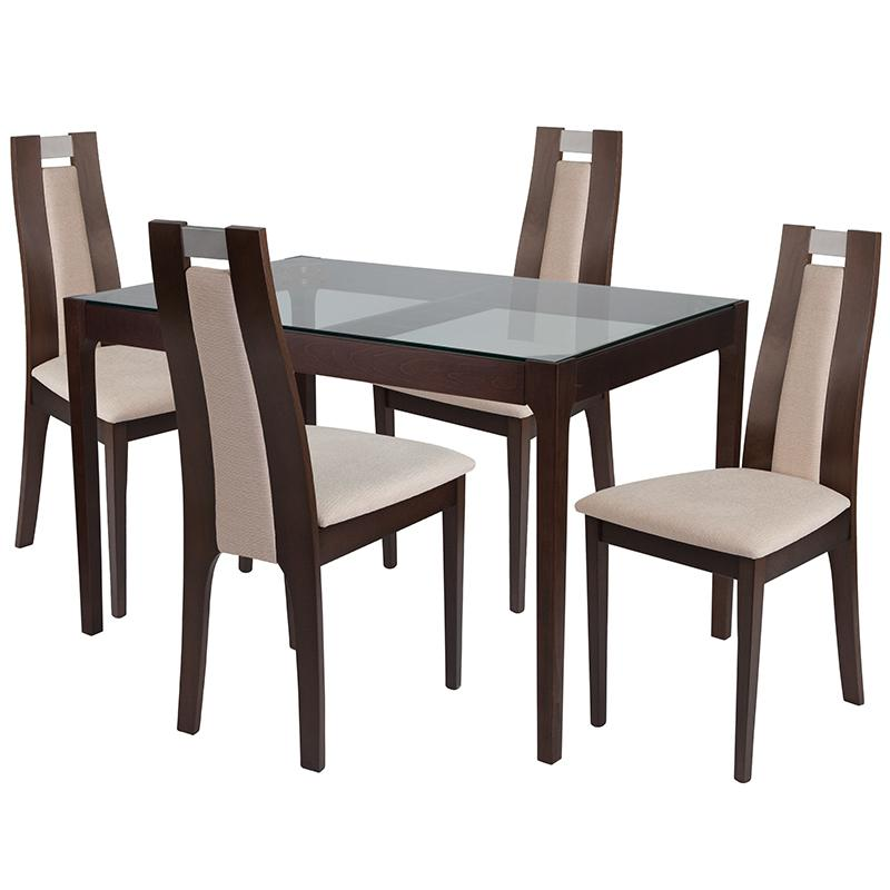 Saratoga 5 Piece Espresso Wood Dining Table Set with Glass Top and Curved Slat Wood Dining Chairs - Padded Seats