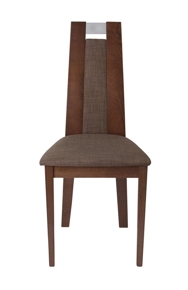Flash Furniture Wood Dining Chair with Curved Slat and Golden Honey Brown Fabric Seat - Walnut Finish
