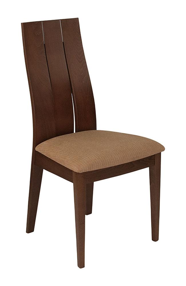 Flash Furniture Walnut Finish Wood Dining Chair with Wide Slat Back and Brown Fabric Seat