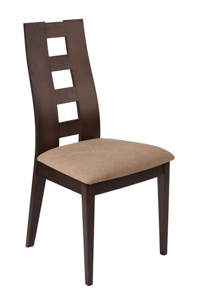 Flash Furniture Wood Dining Chair with Window Pane Back and Brown Fabric Seat - Walnut Finish