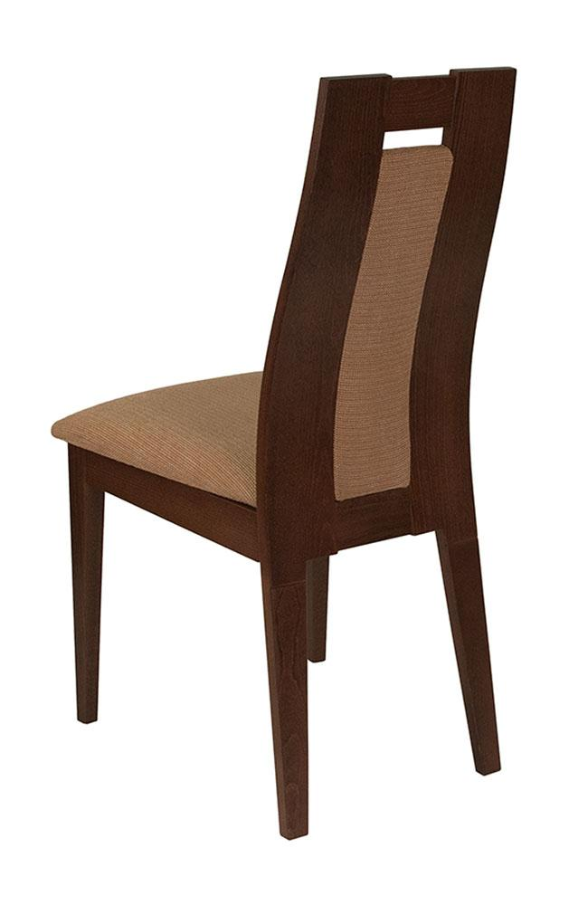 Flash Furniture Wood Dining Chair with Curved Slat and Brown Fabric Seat - Walnut Finish