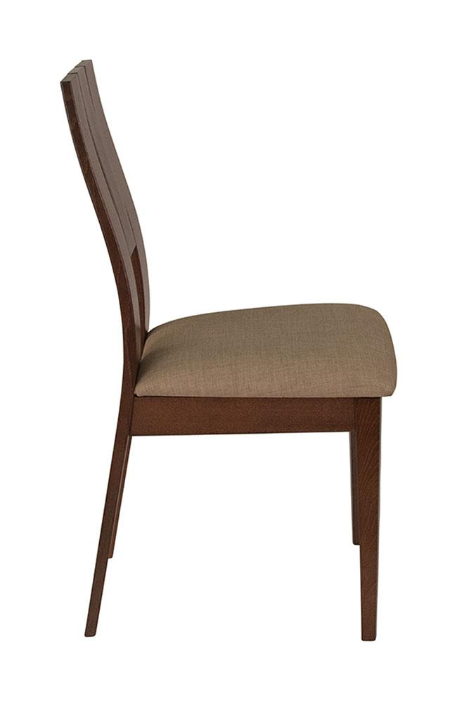 Flash Furniture Wood Dining Chair with Curved Slat Keyhole Back and Magnolia Brown Fabric Seat - Walnut Finish