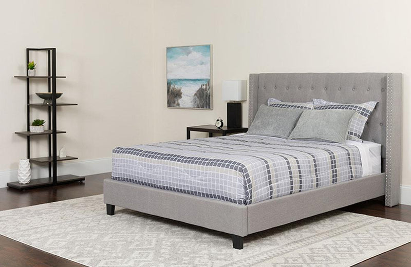 Flash Furniture Riverdale King Size Tufted Upholstered Platform Bed in Light Gray Fabric | Kipe it