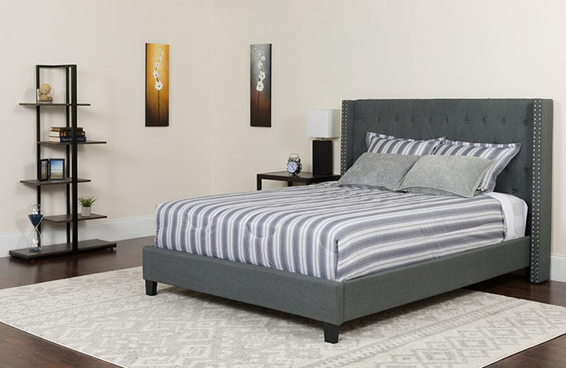 Flash Furniture Riverdale King Size Tufted Upholstered Platform Bed in Dark Gray Fabric | Kipe it